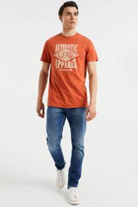 WE Fashion Blue Ridge slim fit T-shirt met printopdruk Spicy Ginger