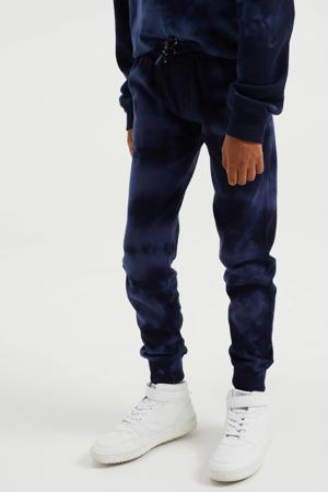 tie-dye slim fit broek donkerblauw