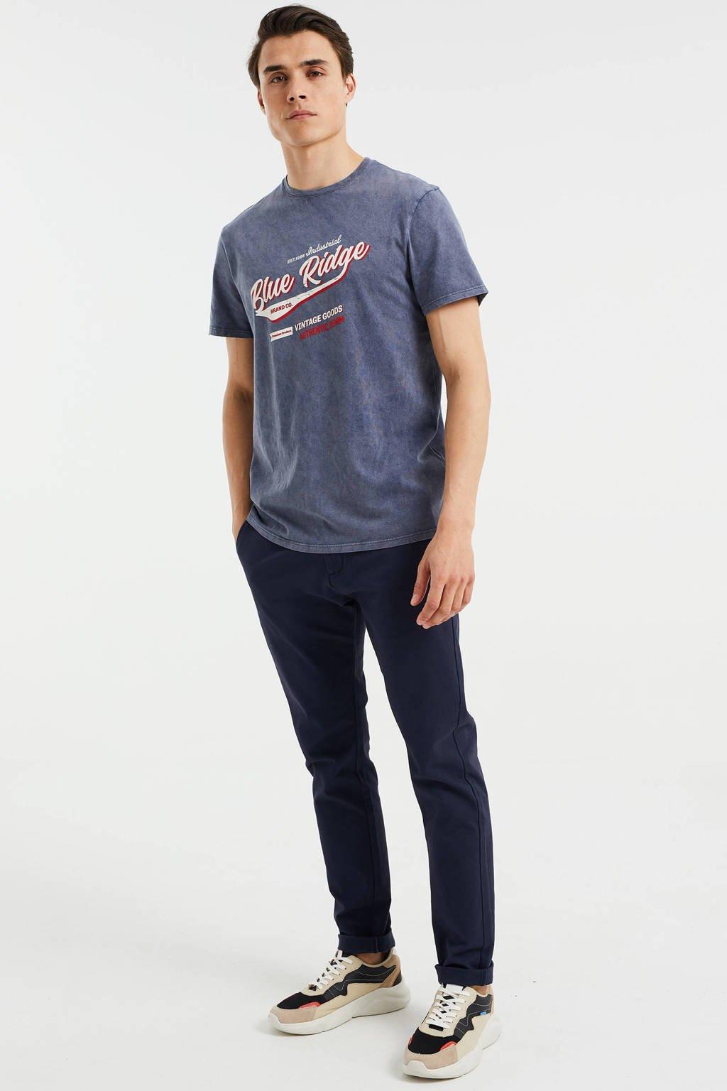 WE Fashion Blue Ridge slim fit T-shirt met printopdruk Heavy Blue