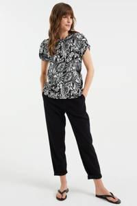WE Fashion T-shirt met all over print black uni, Black Uni
