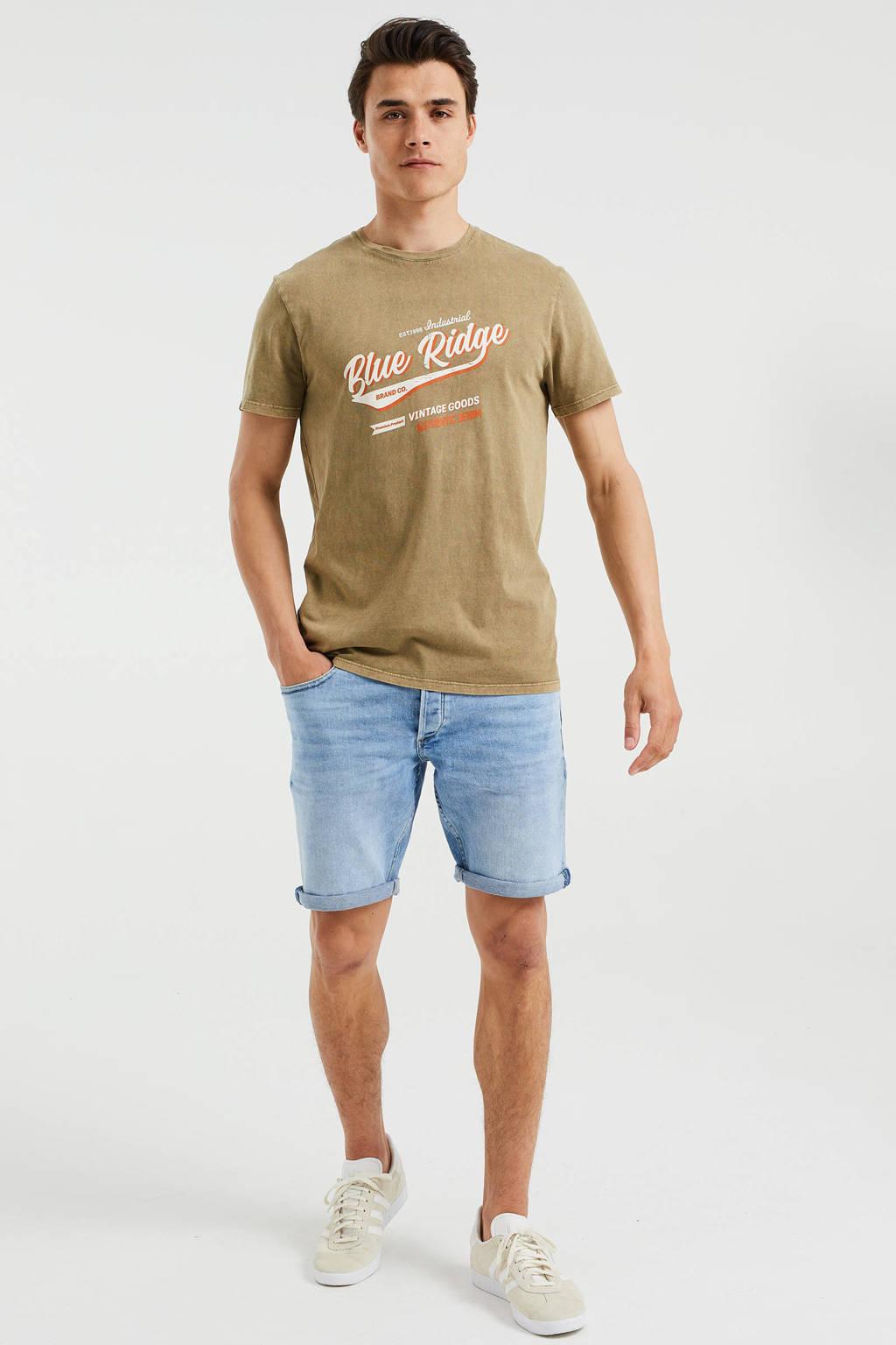 WE Fashion Blue Ridge slim fit T-shirt met printopdruk Forest Night, Forest night