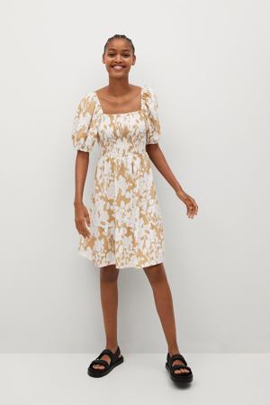 gebloemde jurk lichtbeige