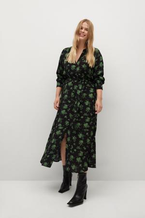 gebloemde maxi blousejurk zwart/groen