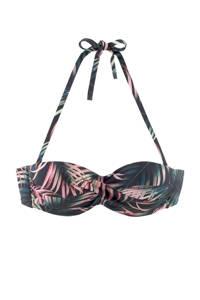 Lascana strapless bandeau bikinitop met all over print zwart/roze, Zwart/roze