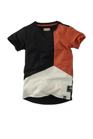 T-shirt Frankie zwart/ecru/roestbruin