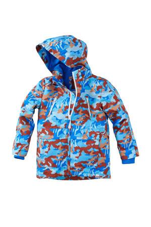 zomerjas Freedo met camouflageprint blauw/roestbruin