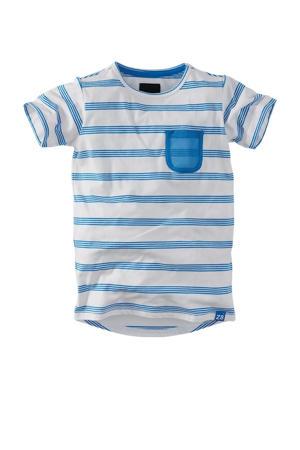 gestreept T-shirt Cenzo wit/blauw