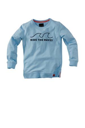 sweater Noxx met tekst blauw/zwart