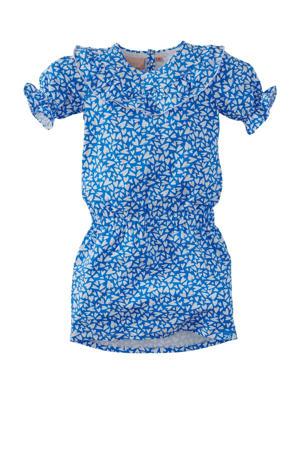 jurk Gita met all over print blauw/wit