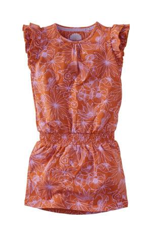 jurk Elara met all over print en ruches roestbruin/lila