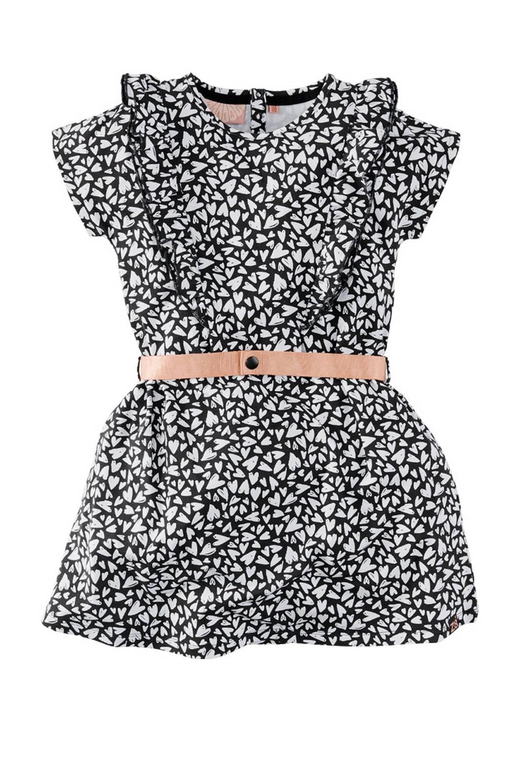 Z8 jurk Nana met all over print en ruches zwart/wit, Zwart/wit