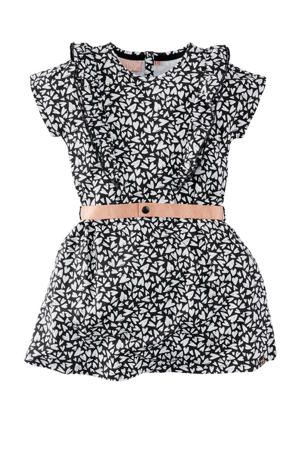 jurk Nana met all over print en ruches zwart/wit