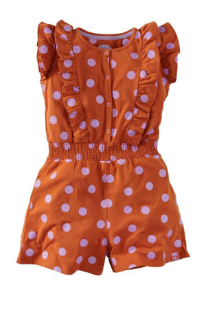 jumpsuit Minnie met stippen roestbruin/lila