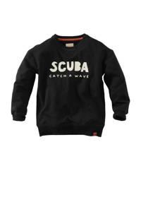Z8 sweater Andrez met tekst zwart/wit, Zwart/wit