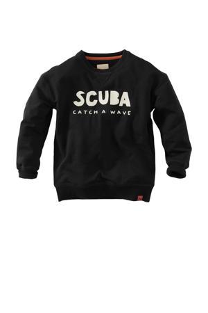 sweater Andrez met tekst zwart/wit