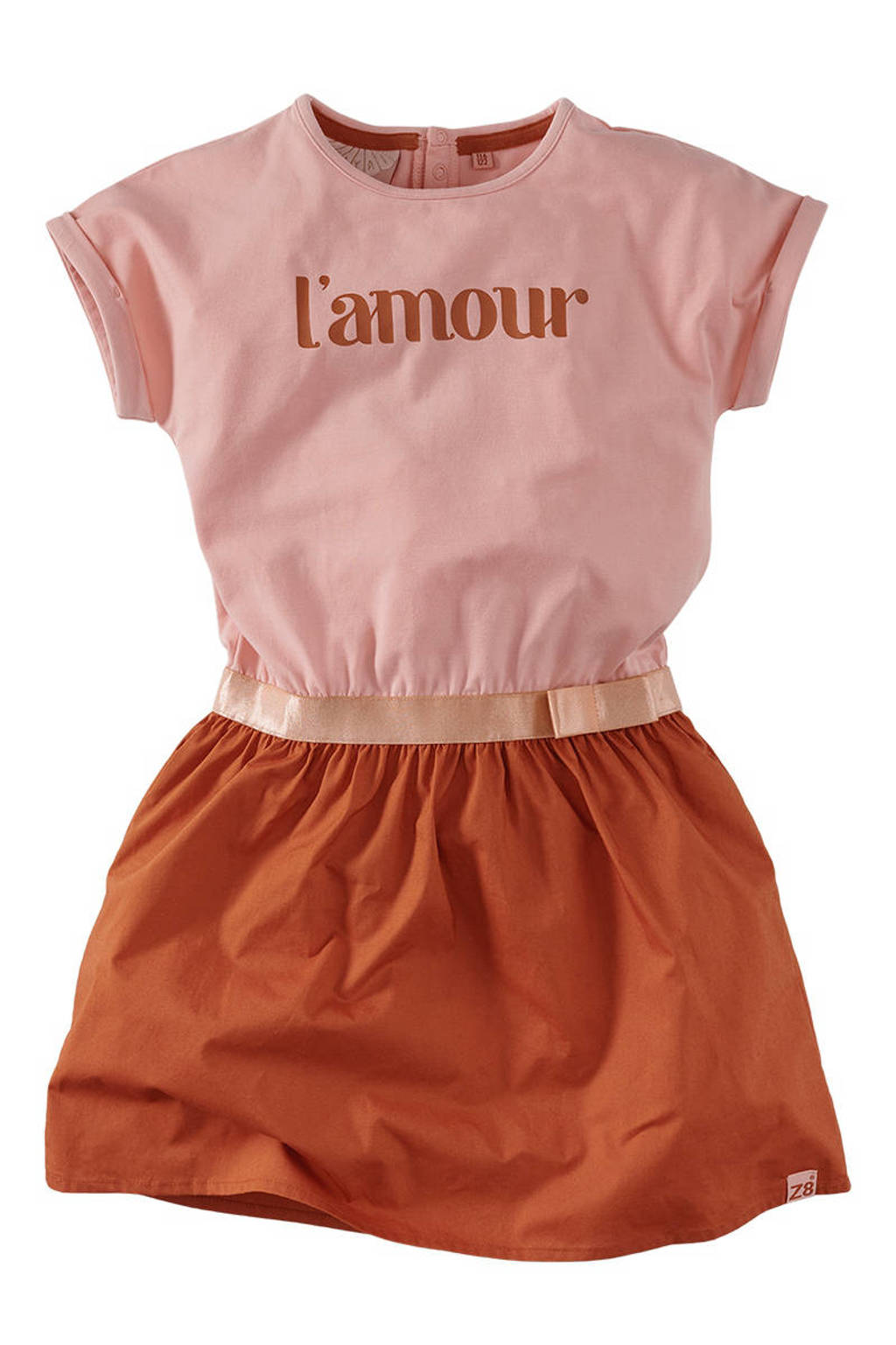 Z8 jurk Adrina met tekst en 3D applicatie lichtroze/roestbruin, Lichtroze/roestbruin