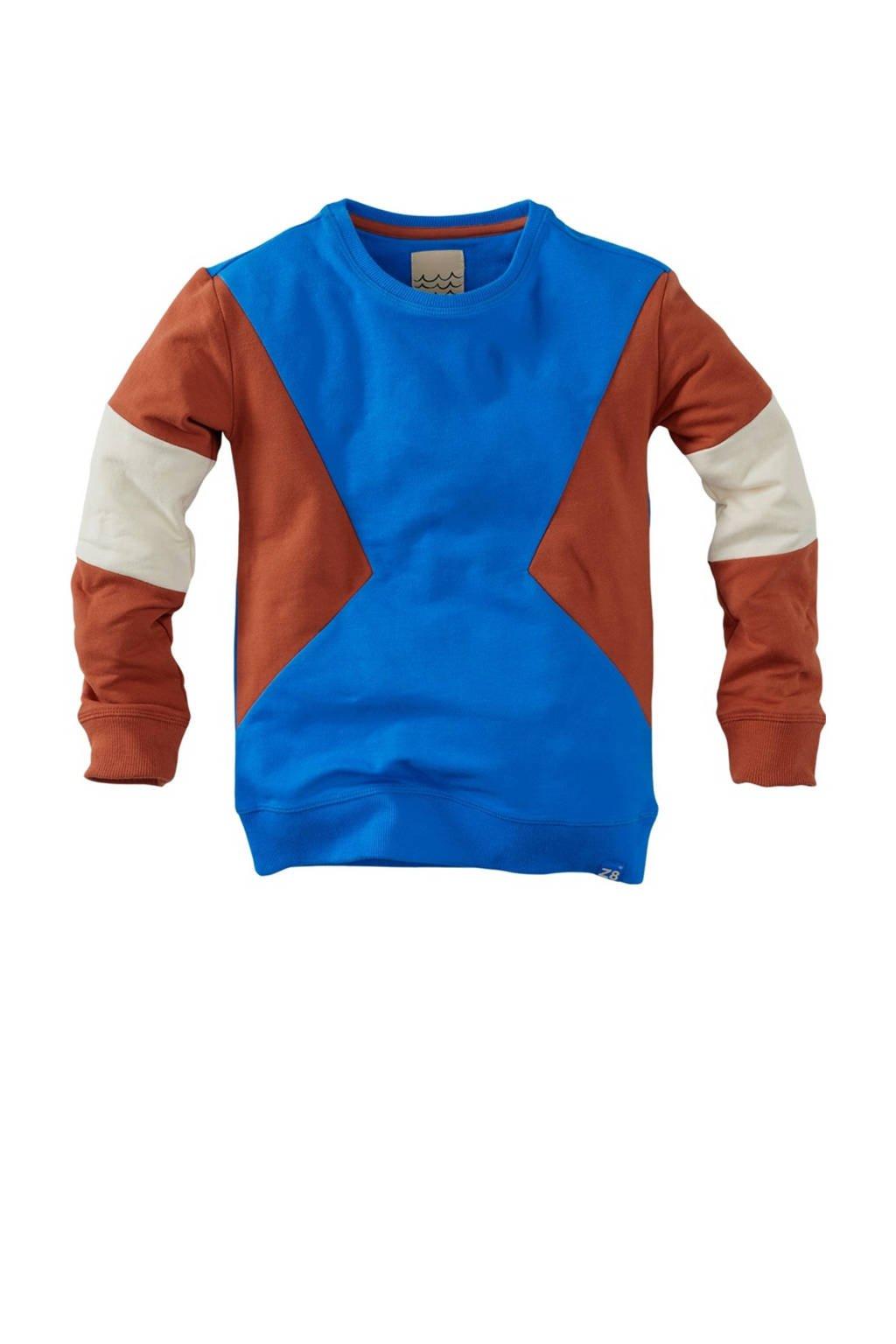 Z8 sweater Nico S21 blauw/bruin/ecru, Blauw/bruin/ecru