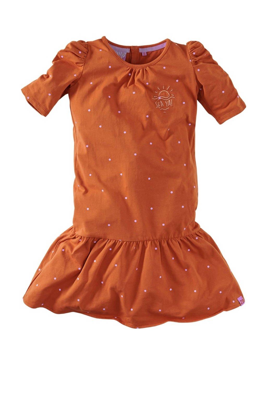 Z8 jurk Mae met all over print en plooien roestbruin/lichtroze, Roestbruin/lichtroze