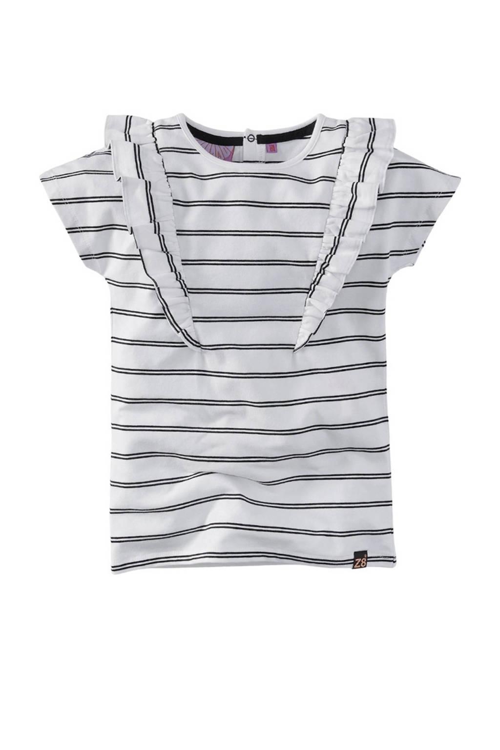 Z8 gestreept T-shirt Wisanne wit/zwart, Wit/zwart
