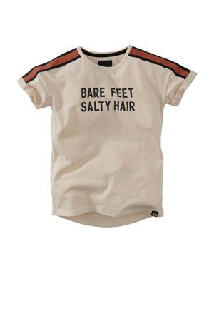T-shirt Lilo met contrastbies beige/zwart/bruin