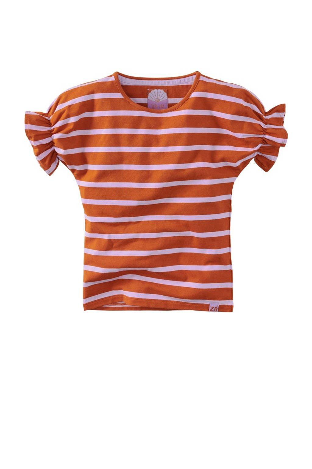 Z8 gestreept T-shirt Jelly roestbruin/lila, Roestbruin/lila