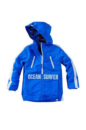 zomerjas Freedo met contrastbies blauw/wit