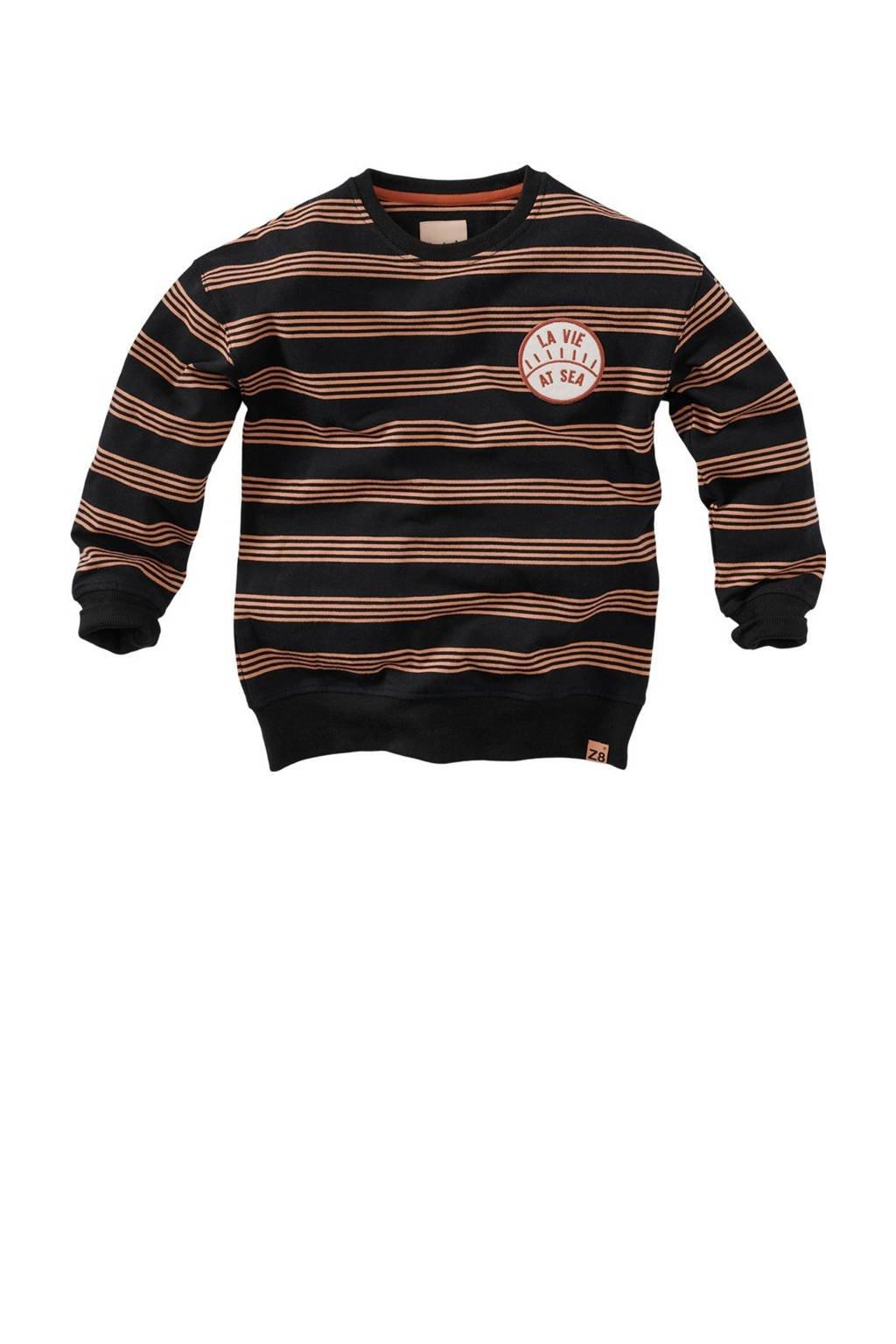 Z8 gestreepte sweater Lou S21 zwart/bruin, Zwart/bruin