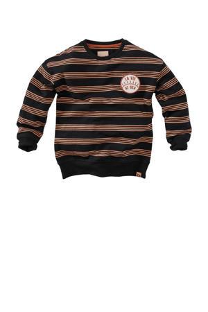 gestreepte sweater Lou S21 zwart/bruin