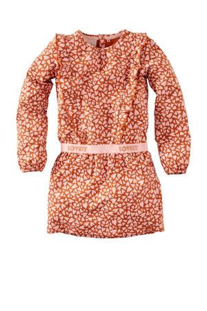 jurk Colien met all over print en ruches bruin/lichtroze