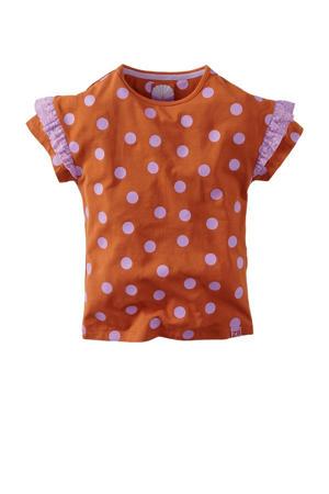 T-shirt Melati met stippen en kant roestbruin/lila