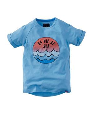 T-shirt Caleb met printopdruk blauw/rood