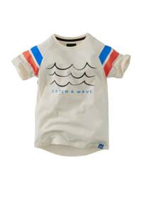 Z8 T-shirt Justus met printopdruk ecru/blauw, Ecru/blauw