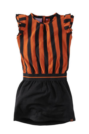 gestreepte jurk Claudette zwart/roestbruin