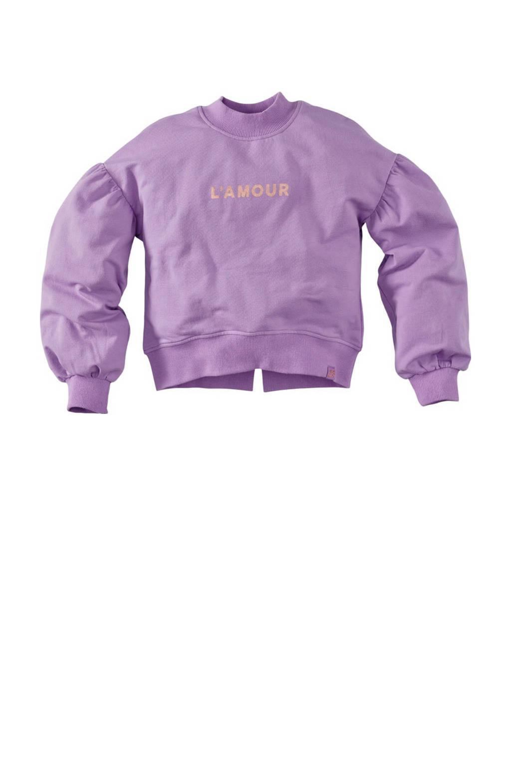 Z8 sweater Bambi S21 met tekst en plooien lila, Lila