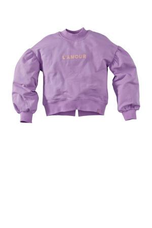 sweater Bambi S21 met tekst en plooien lila