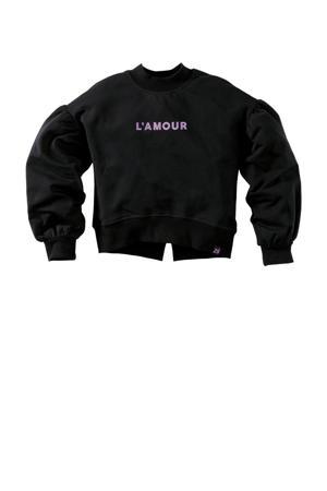 sweater Bambi S21 met tekst zwart/lila