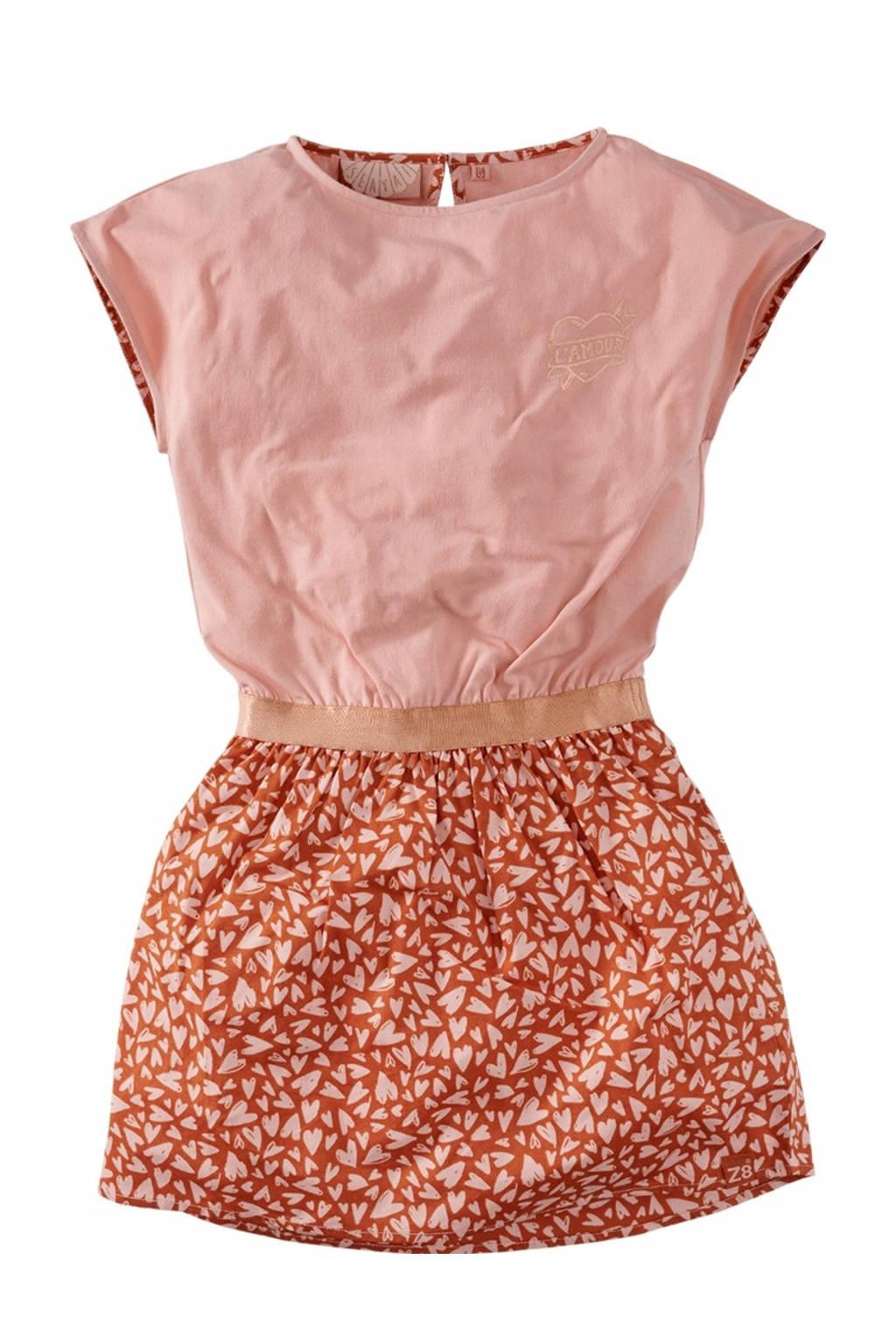 Z8 jurk Zuriel roestbruin/lichtroze, Roestbruin/lichtroze