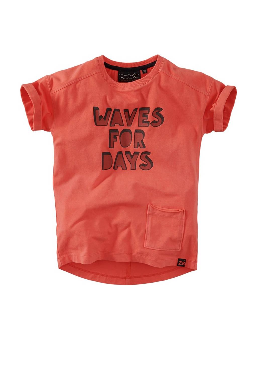 Z8 T-shirt Luigi met tekst koraalrood, Koraalrood