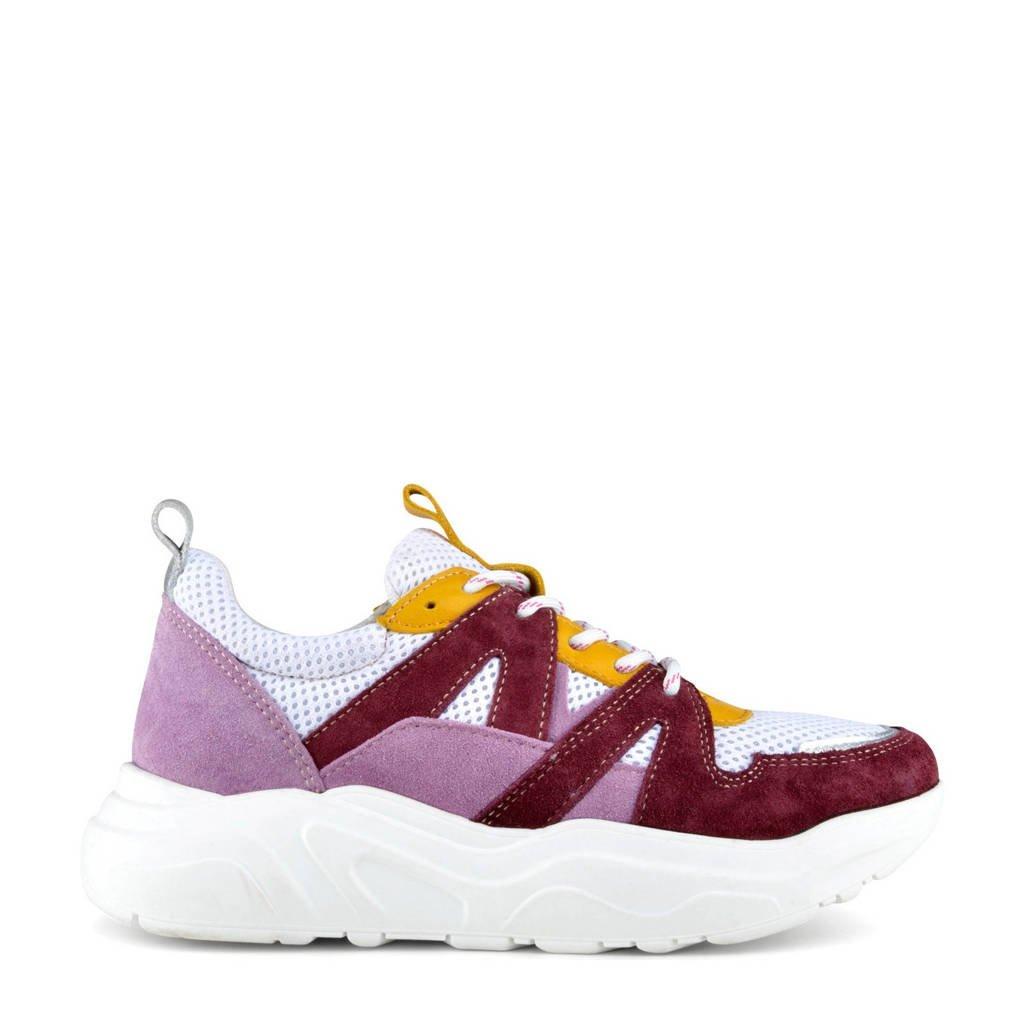 PS Poelman Year  suède chunky sneakers donkerrood/multi