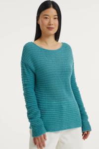 Anna van Toor grofgebreide trui turquoise, Turquoise