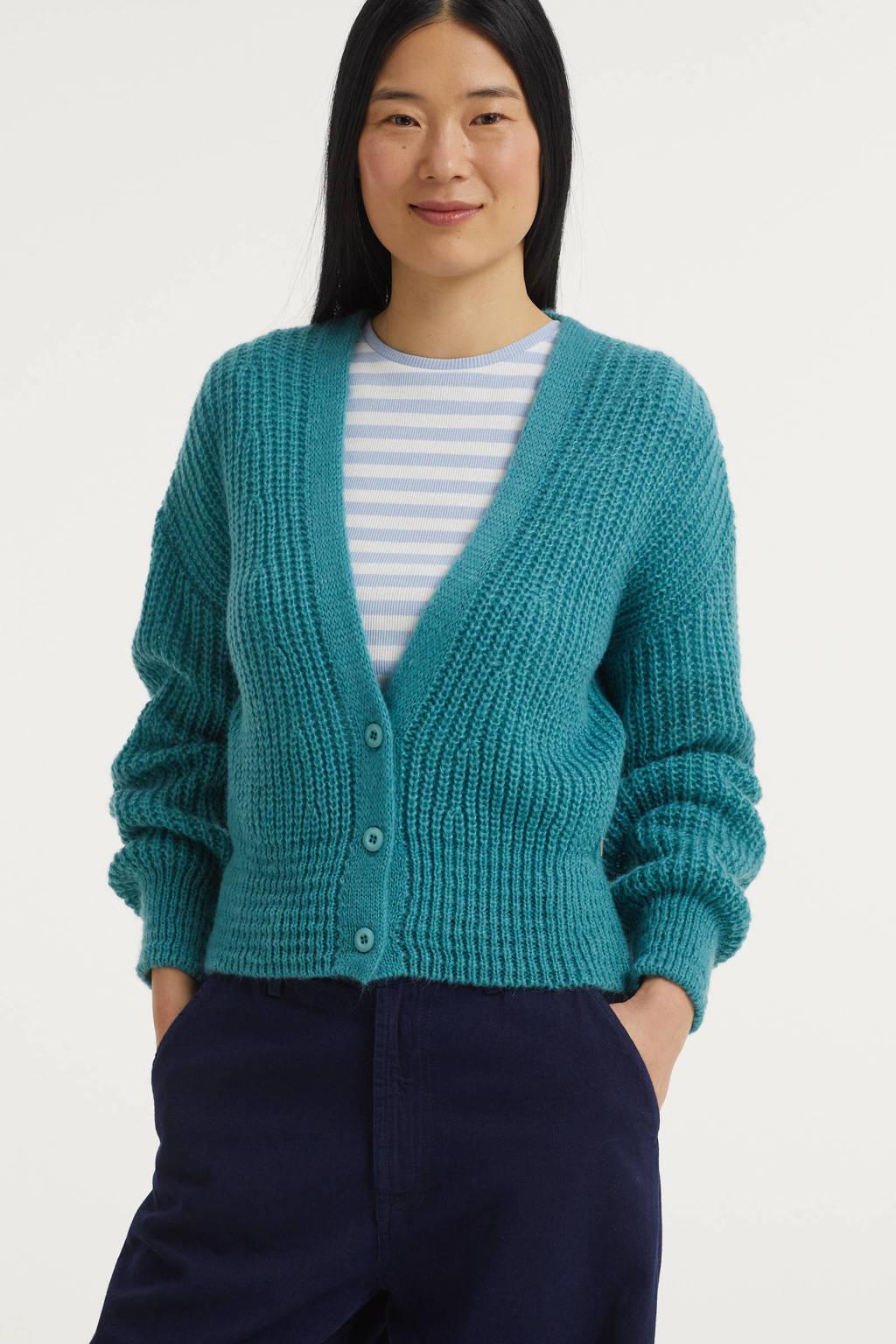 Anna grofgebreid vest turquoise, Turquoise