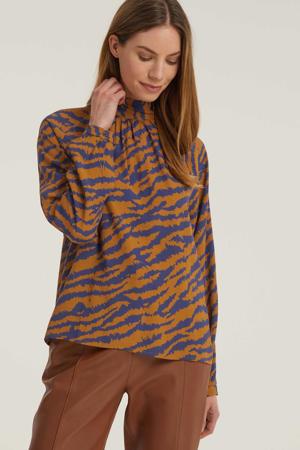 top met all over print oranje/blauw