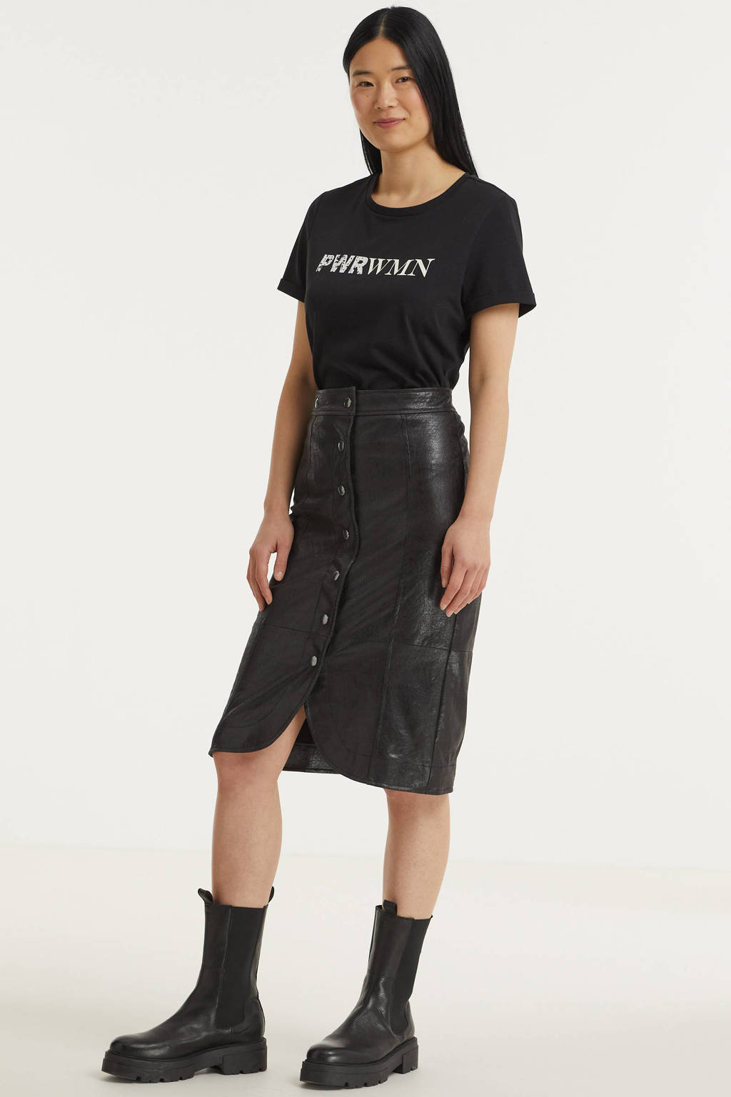 Anna T-shirt met tekst zwart, Zwart