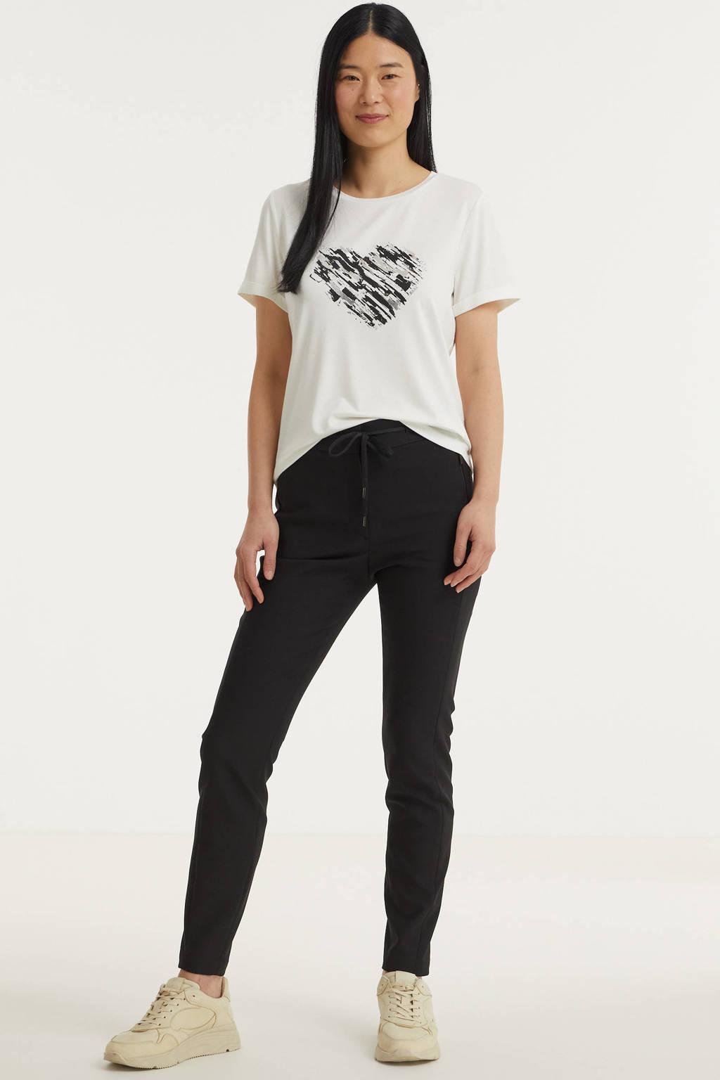Anna T-shirt met printopdruk ecru, Ecru