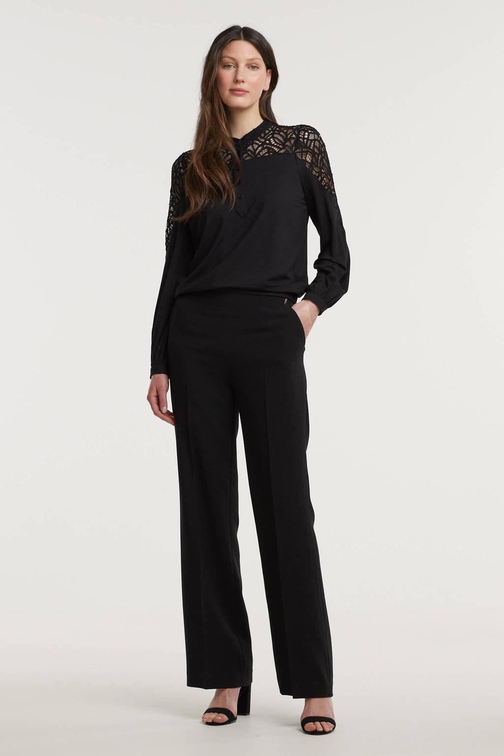 Anna van Toor flared broek zwart, Zwart