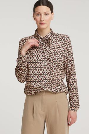 blouse met all over print en ceintuur beige/koraal