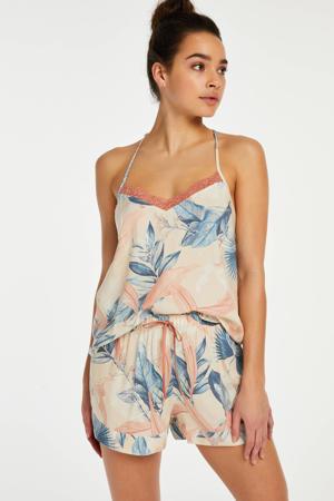 pyjamashort Bird Leaf met all over print beige/blauw