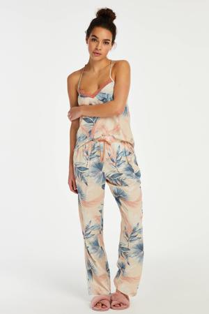 pyjamabroek Bird Leaf met all over print beige/blauw