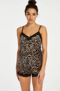 Hunkemöller velours pyjamashort met zebraprint zwart/ecru, Zwart/ecru