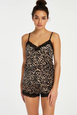 velours pyjamashort met zebraprint zwart/ecru
